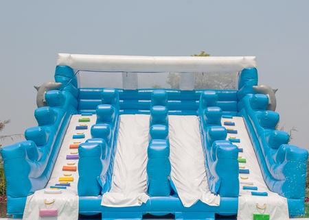 inflatable slider water pool in summer