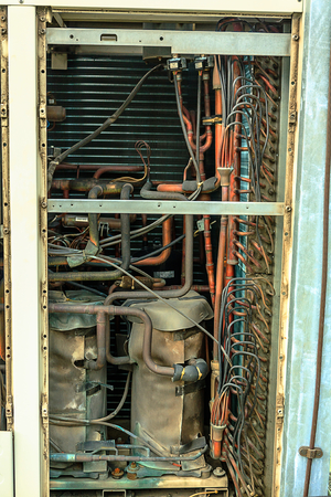 copper tube in fancoil unit of air condition Stock Photo