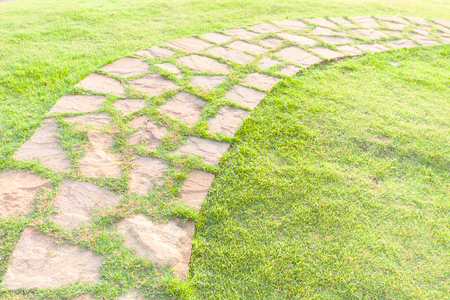 Tile stone walkway with grass Banque d'images