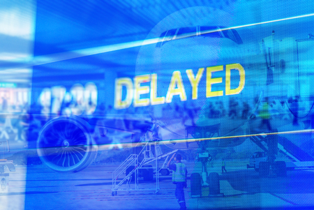 Airport double exposure, delayed abstract background