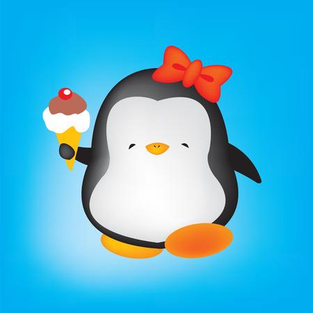 cute penguin holding ice cream Vector
