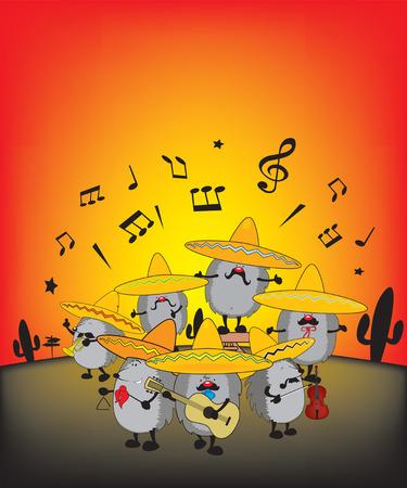 traje mexicano: aspecto gracioso erizos mariachi ilustración