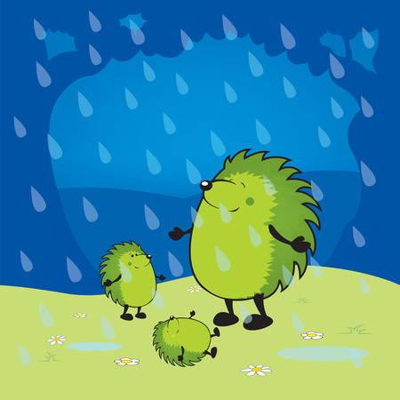rains: Hedgehogs are happy when it rains