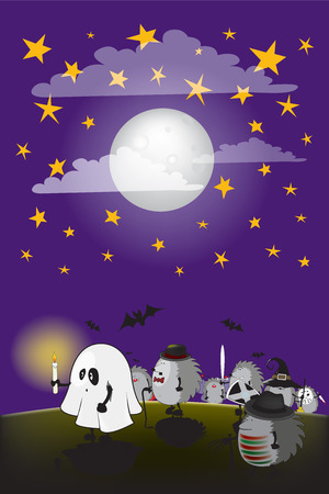 fool moon: funny looking hedgehogs dressed for halloween under the night sky with fool moon and clouds Illustration