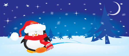 horizontal orientation: Cute little Christmas penguin on winter night horizontal orientation background