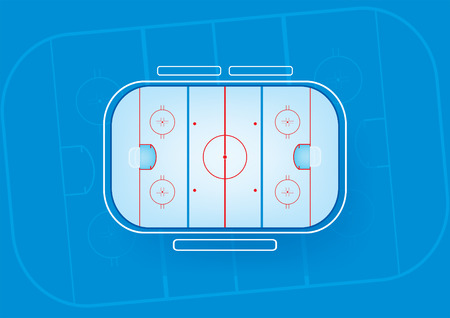 hockey goal: ice hockey rink on blue background,aerial view vector illustration Illustration