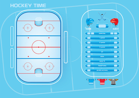 ice surface: Ice hockey rink,game elements,icons,scoreboard vector