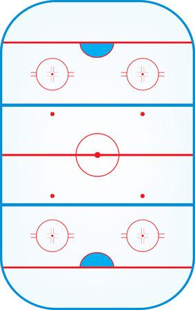 ice hockey rink,aerial view vector illustration Stock Illustratie