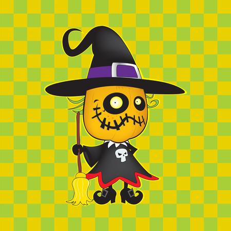 harridan: Cute looking witch pumpkin Halloween vector illustration