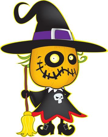 harridan: Halloween pumpkin witch isolated on white Illustration