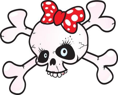 skull crossbones: Girl power skull vector illustration isolated on white