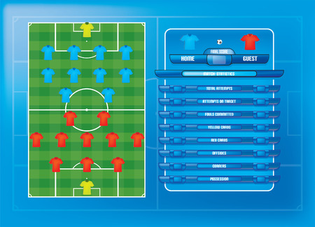 Game report info graphics for football soccer vector illustration Vector