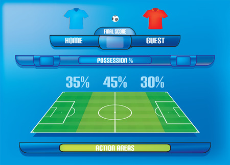 Game report info graphics ball possession and action areas for football soccer game Vector