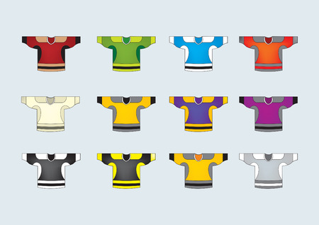 Set of 12 ice hockey jersey  vector Vector