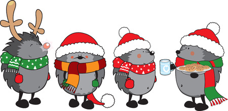 Christmas hedgehogs isolated on white
