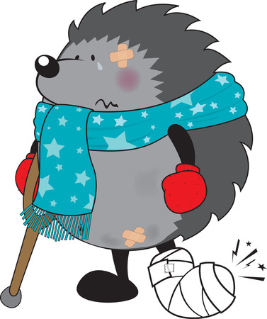Sweet looking injured hedgehog illustration isolated on white background Vector Illustration