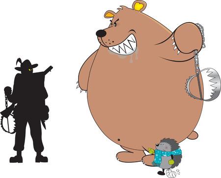 bear trap: Anti-hunting,animal friendly illustration,isolated on white