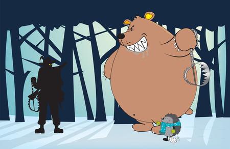bear trap: Anti-hunting,animal friendly illustration,vertical orientation