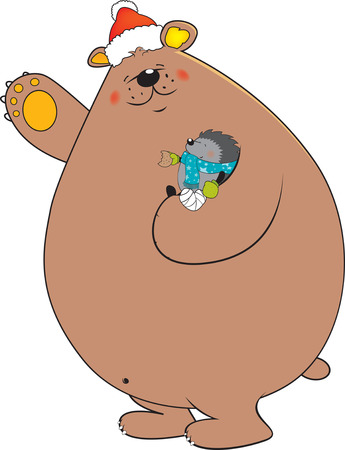 ute looking bear with Santa Claus hat holding cute little injured hedgehog in his arm Vector