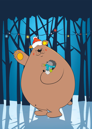 sweet looking friendly bear with Santas hat holding injured hedgehog in his arm Vector