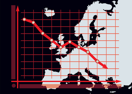 decline: Decline chart diagram with red down arrow on Europe map