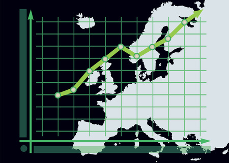 height chart: Decline chart diagram with green up arrow on Europe map