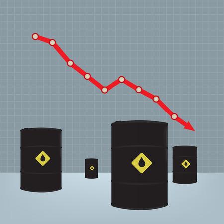 barell: Oil barrels on Decline chart diagram background