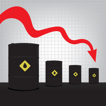 barell: Oil barrels on Decline chart diagram and red down arrow background Illustration