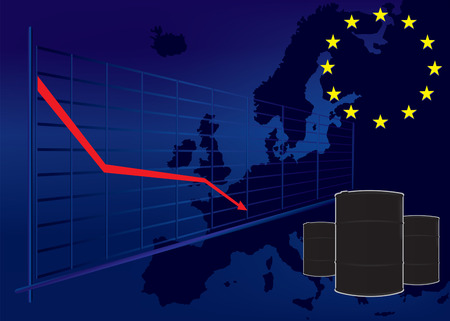 barell: Oil price fall in European Union graph on Europe map background