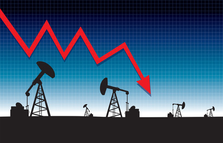 Oil price fall graph illustration on oil pump field at dawn background 矢量图像