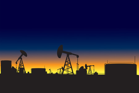 refinery: Oil refinery and oil pumps silhouettes at dawn vector illustration