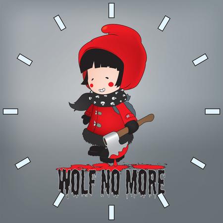 caperucita roja: Caperucita Roja illustration.Wolf no m�s patr�n reloj