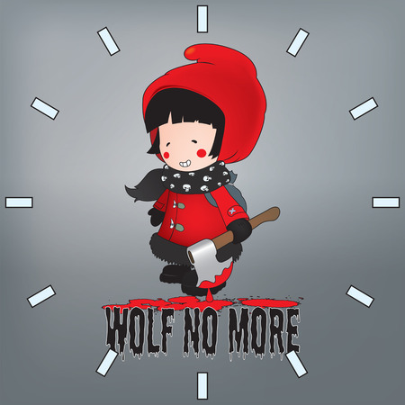 red riding hood: Little Red Riding Hood illustration.Wolf no more clock pattern Illustration