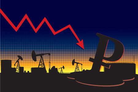 decline: Russian currency decline oil price graph Illustration