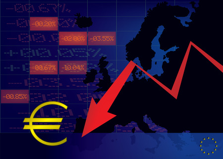 decline: Euro currency decline illustration Illustration