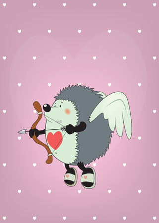 bellybutton: Cupid the hedgehog.Funny Valentines day card illustration