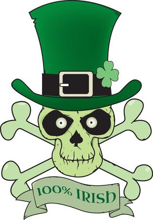 skull and crossed bones: Verde cr�neo irland�s afortunado aislado en fondo blanco
