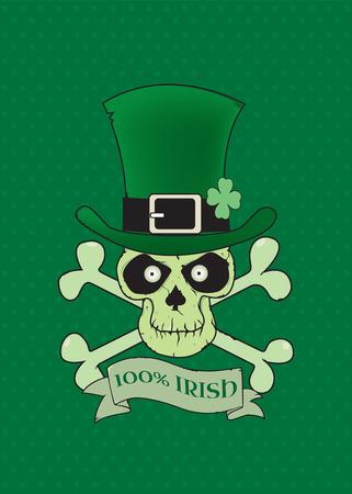 four leafs clover: 100% Irish.Green lucky Irish skull vector illustration