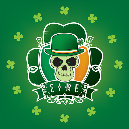 four leafs clover: Lucky Irish skull.St.Patrick day illustration vector