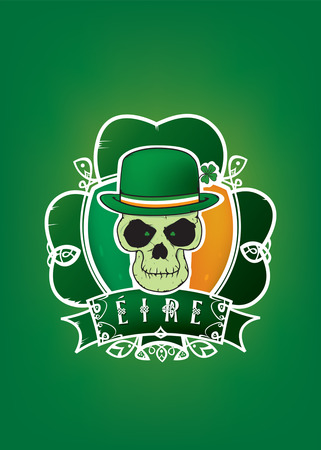 four leafs clover: Lucky Irish skull of St.Patrick day illustration