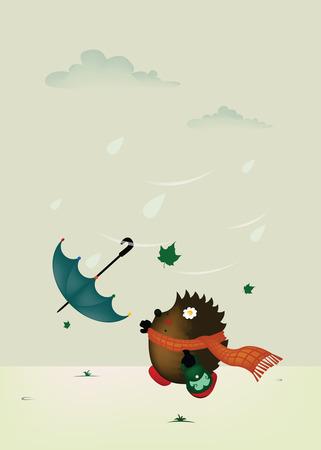 essayer: Day.cute Windy petit h�risson essayer d'attraper parapluie Illustration