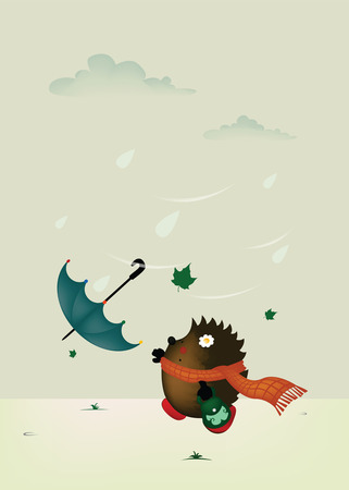 Windy day.cute little hedgehog try to catch umbrella