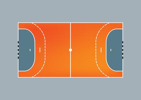 balonmano: Cancha de balonmano, vista aérea ilustración vectorial Vectores
