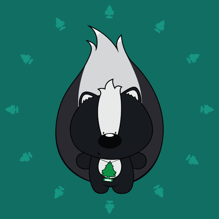 stinking: cute looking skunk with air freshener around his neck Illustration
