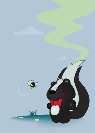 stinking: sweet looking skunk and bee with gas mask Illustration