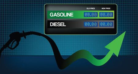 Diesel and gasoline price growth illustration Vector