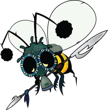 The last honey bee.futuristic fantasy illustration Vector