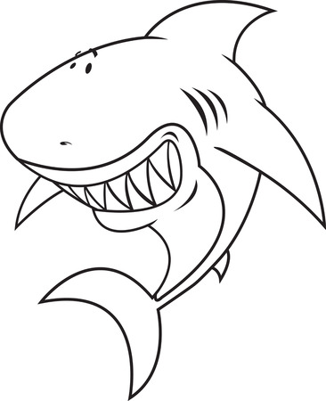 Great White Shark Coloring Book Illustration Royalty Free Cliparts ...