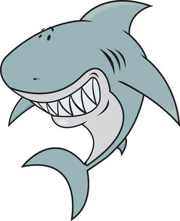 great white: great white shark isolated on white Illustration