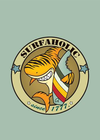 funny surfer: funny tiger shark surfer illustration Illustration